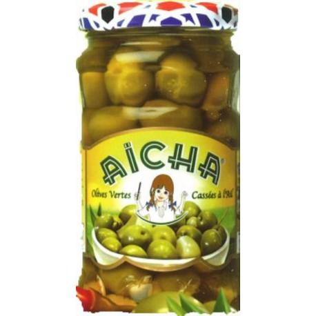 Olives vertes cassées ail AICHA