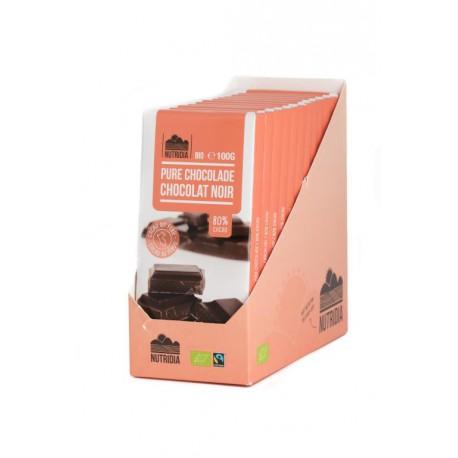 TABLETTE CHOCOLAT NOIR 80% 100G BIO NUTRIDIA